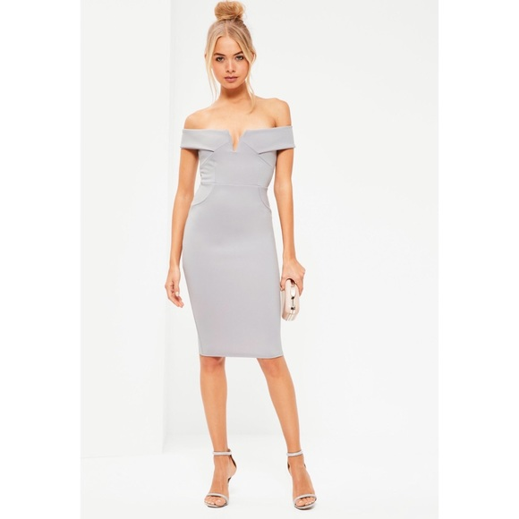 02f6f8175c66 NWT MISSGUIDED v front bardot midi dress grey. M_5b2301b804e33df634ce81ca